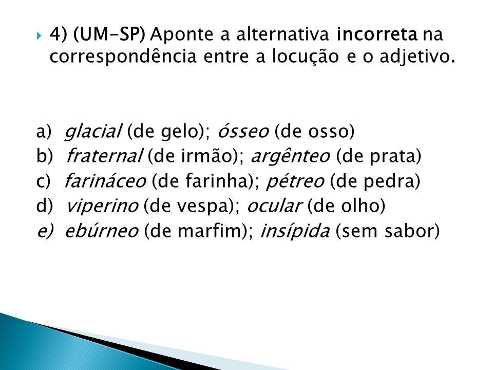 4) (UM-SP) Aponte a alternativa incorreta na correspondência entre a locução e o adjetivo.