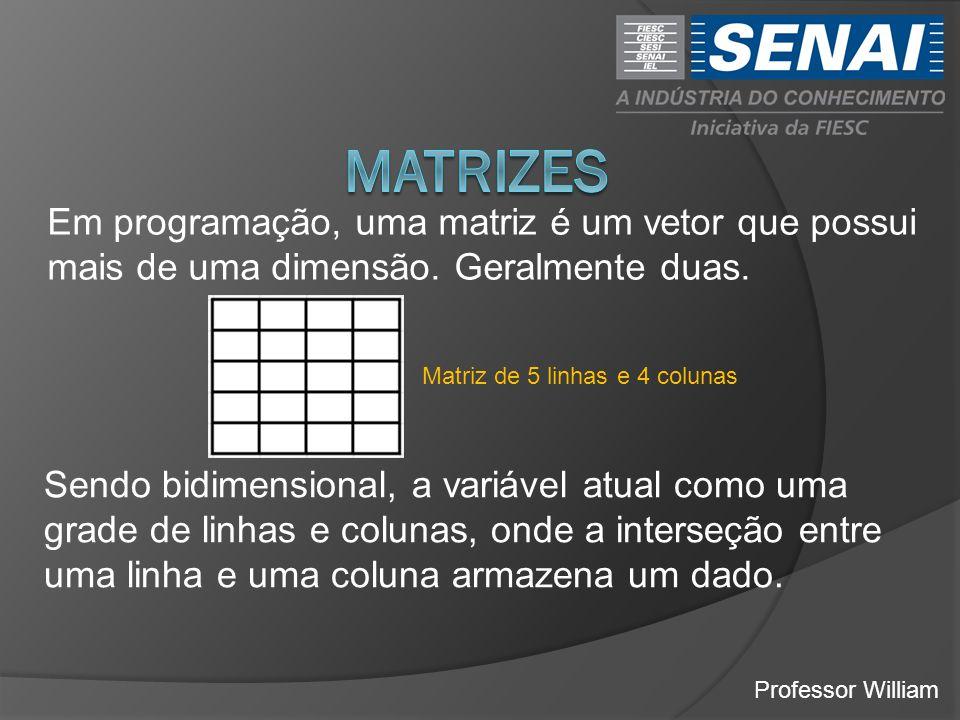 MATRIZES Em programação, uma matriz é um vetor que possui mais de uma dimensão. Geralmente duas. Matriz de 5 linhas e 4 colunas.