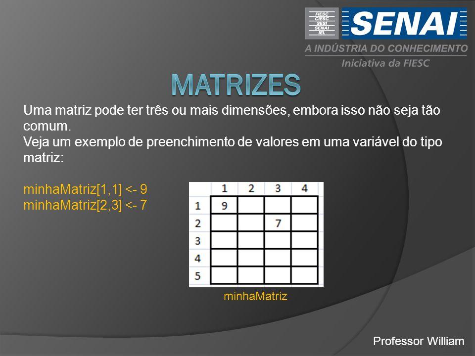 MATRIZES Uma matriz pode ter três ou mais dimensões, embora isso não seja tão comum.