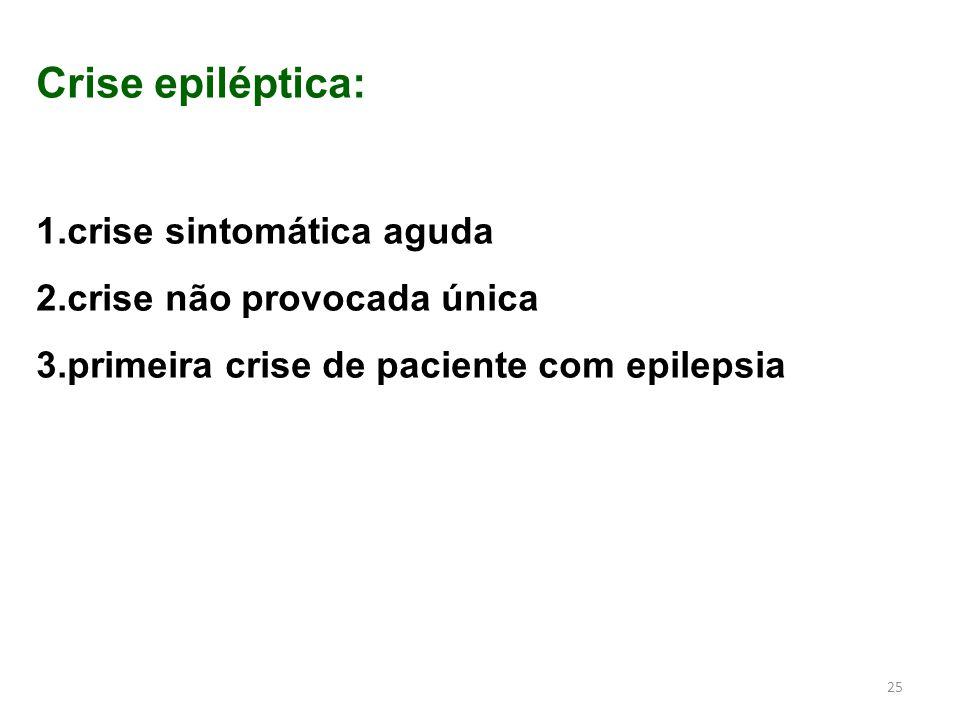 Crise epiléptica: crise sintomática aguda crise não provocada única
