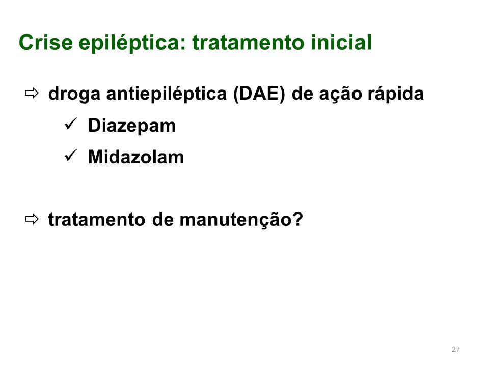 Crise epiléptica: tratamento inicial