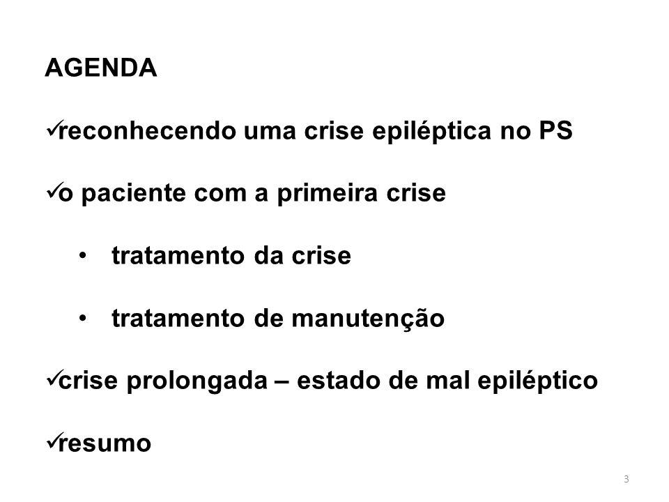AGENDA reconhecendo uma crise epiléptica no PS. o paciente com a primeira crise. tratamento da crise.