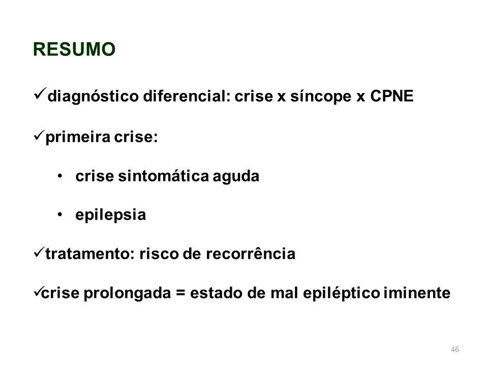 diagnóstico diferencial: crise x síncope x CPNE