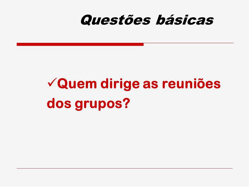 Questões básicas Quem dirige as reuniões dos grupos