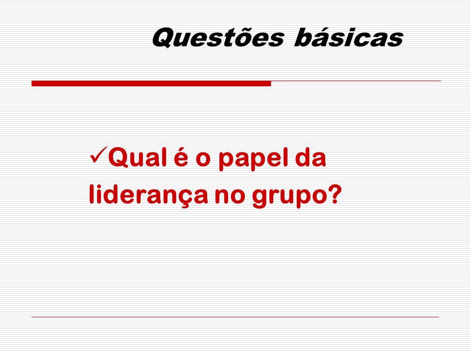 Questões básicas Qual é o papel da liderança no grupo
