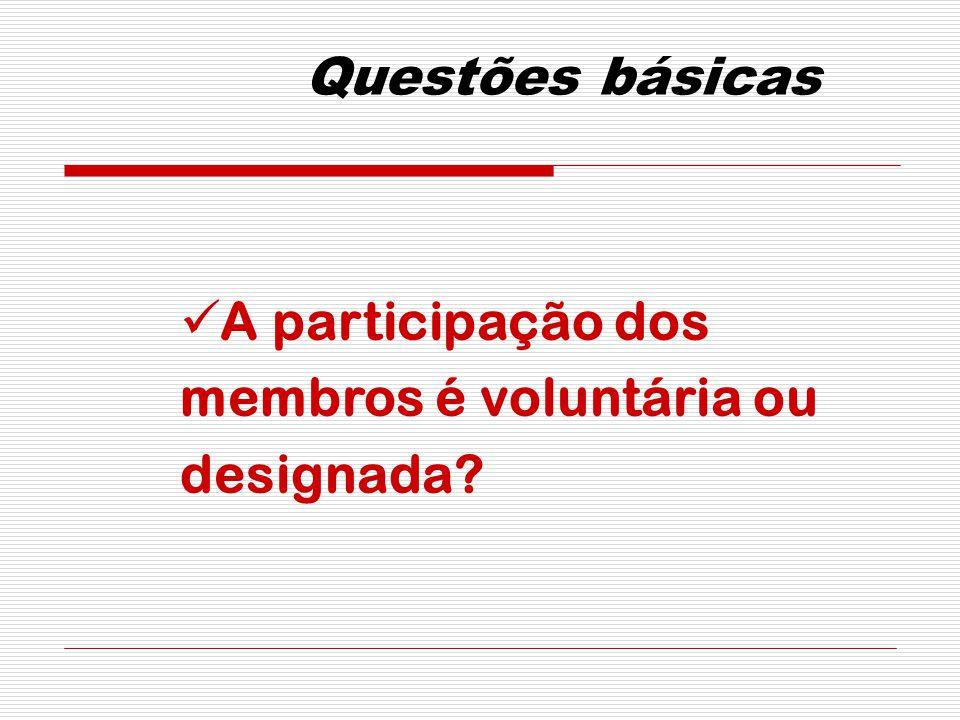 Questões básicas A participação dos membros é voluntária ou designada