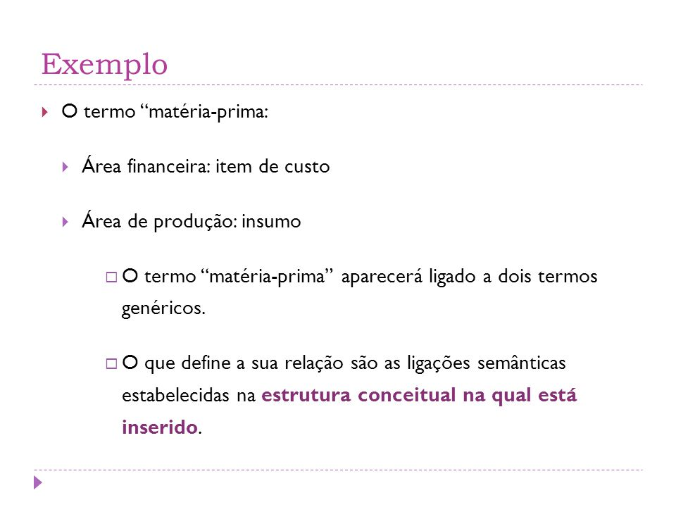 Exemplo O termo matéria-prima: Área financeira: item de custo