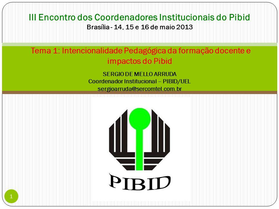 III Encontro dos Coordenadores Institucionais do Pibid Brasília - 14, 15 e 16 de maio 2013 Tema 1: Intencionalidade Pedagógica da formação docente e impactos do Pibid SERGIO DE MELLO ARRUDA Coordenador Institucional – PIBID/UEL sergioarruda@sercomtel.com.br