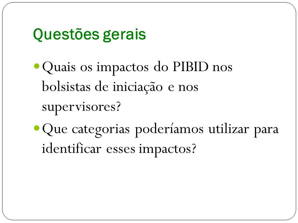 Questões gerais Quais os impactos do PIBID nos bolsistas de iniciação e nos supervisores