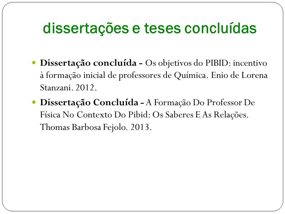 dissertações e teses concluídas