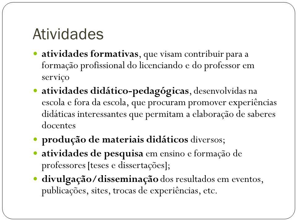 Atividades atividades formativas, que visam contribuir para a formação profissional do licenciando e do professor em serviço.