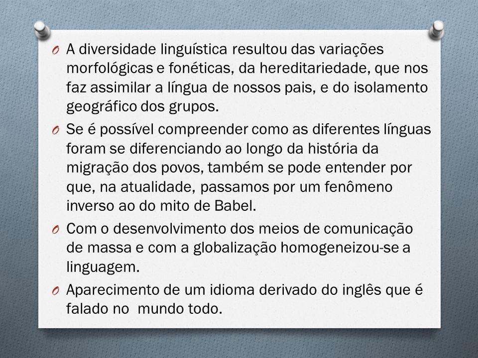 A diversidade linguística resultou das variações morfológicas e fonéticas, da hereditariedade, que nos faz assimilar a língua de nossos pais, e do isolamento geográfico dos grupos.