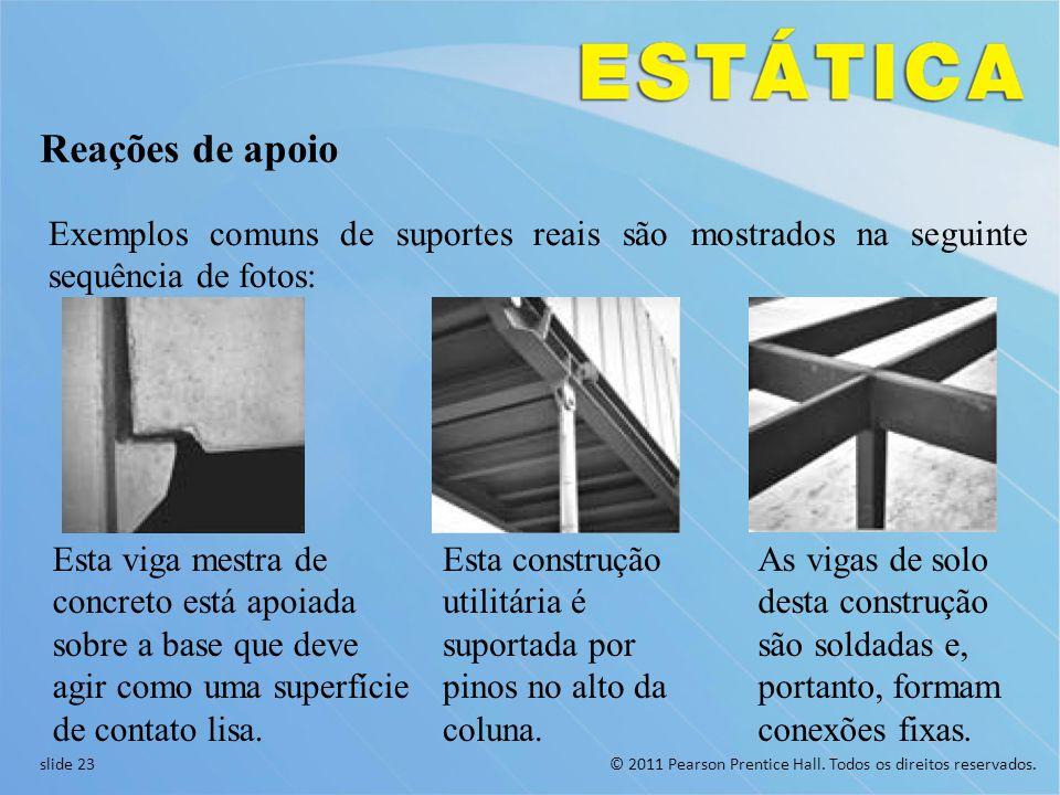 Reações de apoio Exemplos comuns de suportes reais são mostrados na seguinte sequência de fotos: Esta viga mestra de concreto está apoiada.