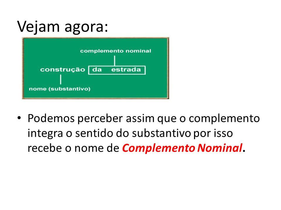 Vejam agora: Podemos perceber assim que o complemento integra o sentido do substantivo por isso recebe o nome de Complemento Nominal.