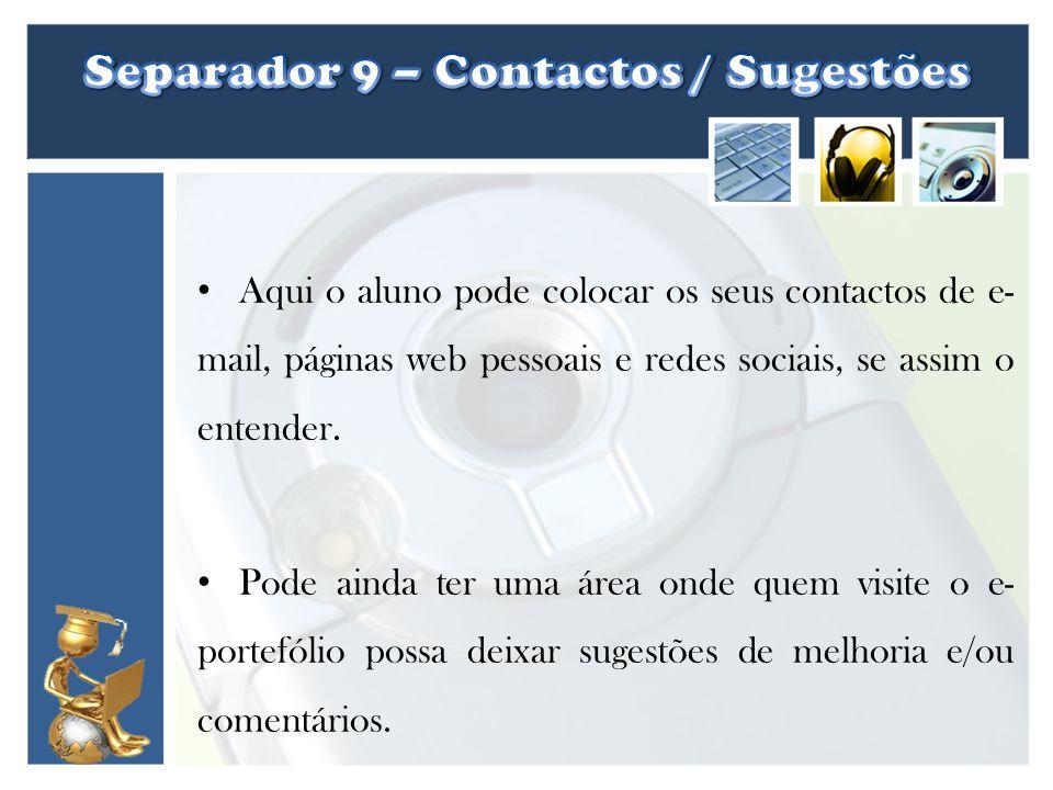 Separador 9 – Contactos / Sugestões