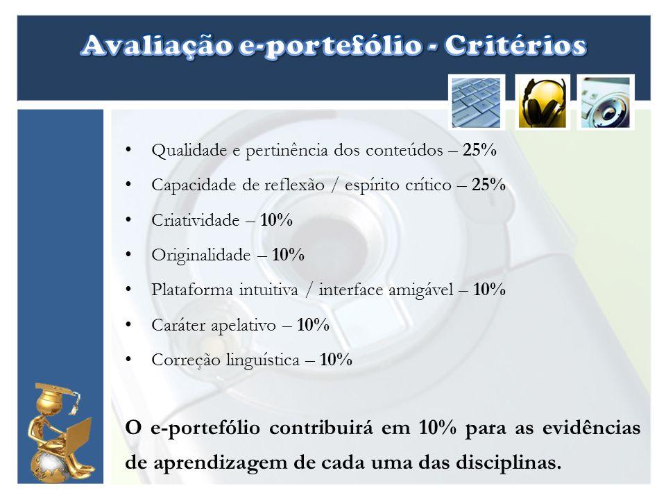 Avaliação e-portefólio - Critérios