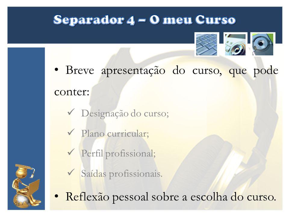 Separador 4 – O meu Curso Breve apresentação do curso, que pode conter: Designação do curso; Plano curricular;