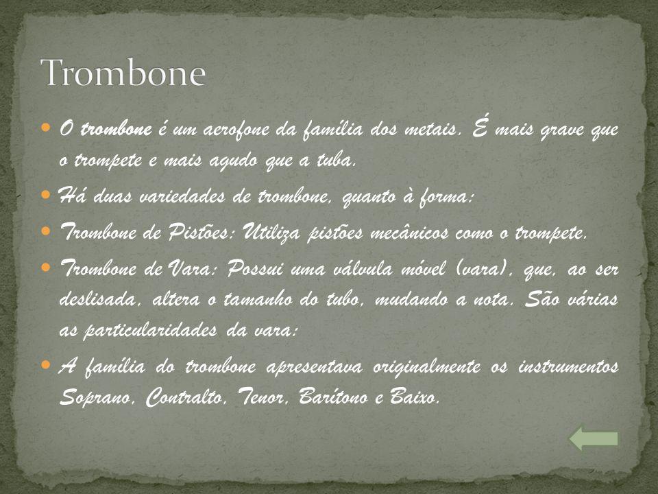 Trombone O trombone é um aerofone da família dos metais. É mais grave que o trompete e mais agudo que a tuba.