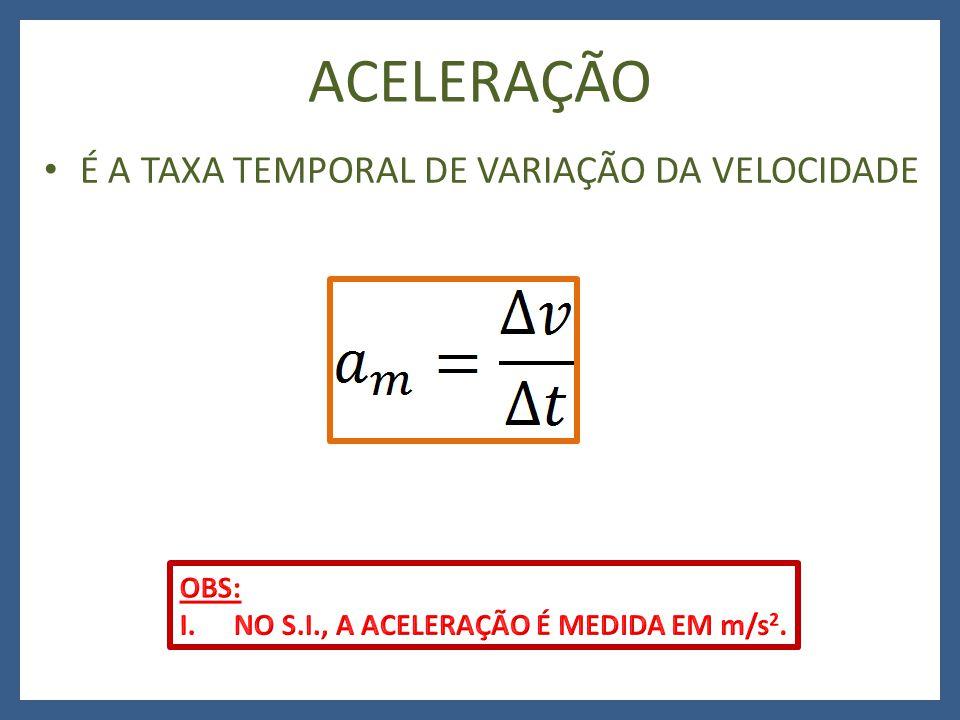 ACELERAÇÃO É A TAXA TEMPORAL DE VARIAÇÃO DA VELOCIDADE OBS: