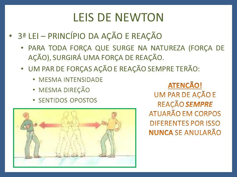 LEIS DE NEWTON 3ª LEI – PRINCÍPIO DA AÇÃO E REAÇÃO