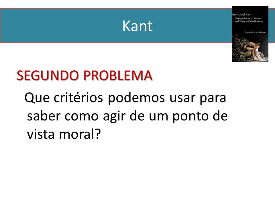 Kant SEGUNDO PROBLEMA Que critérios podemos usar para saber como agir de um ponto de vista moral