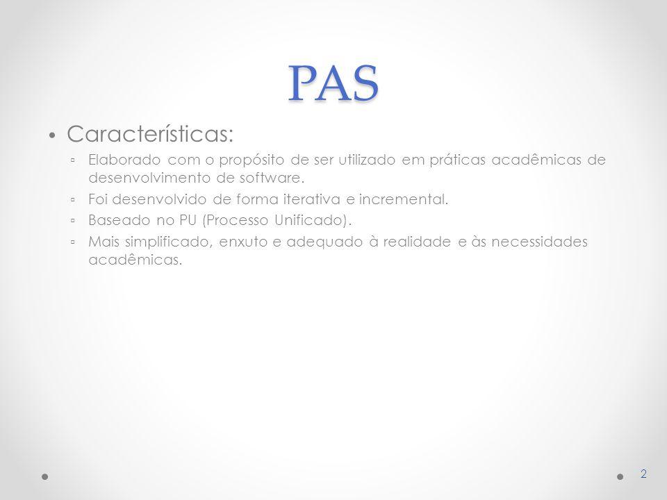 PAS Características: Elaborado com o propósito de ser utilizado em práticas acadêmicas de desenvolvimento de software.