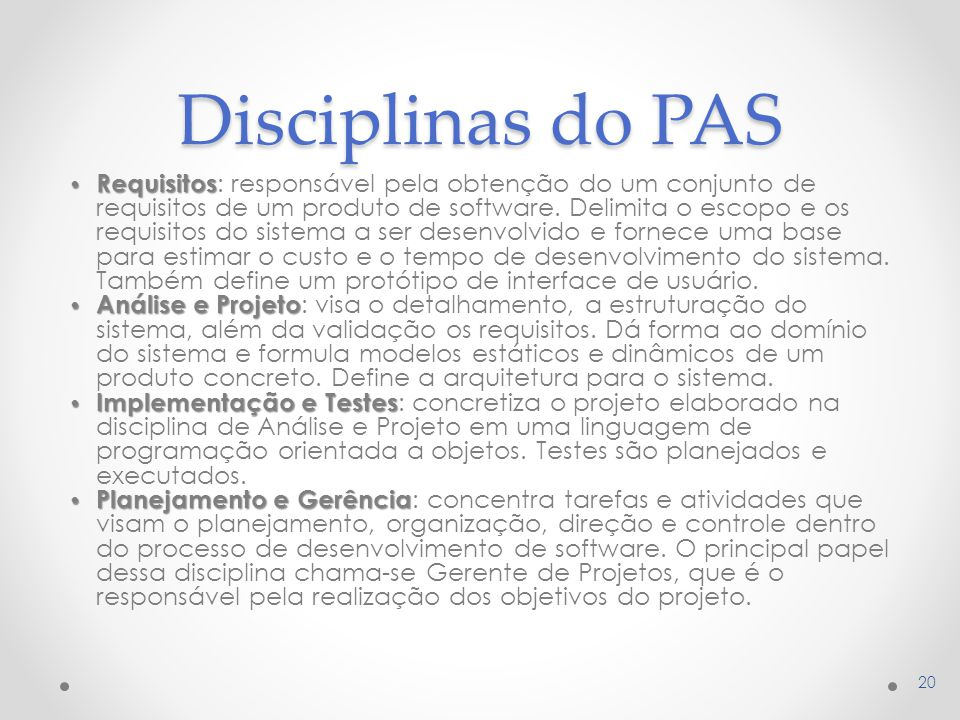 Disciplinas do PAS