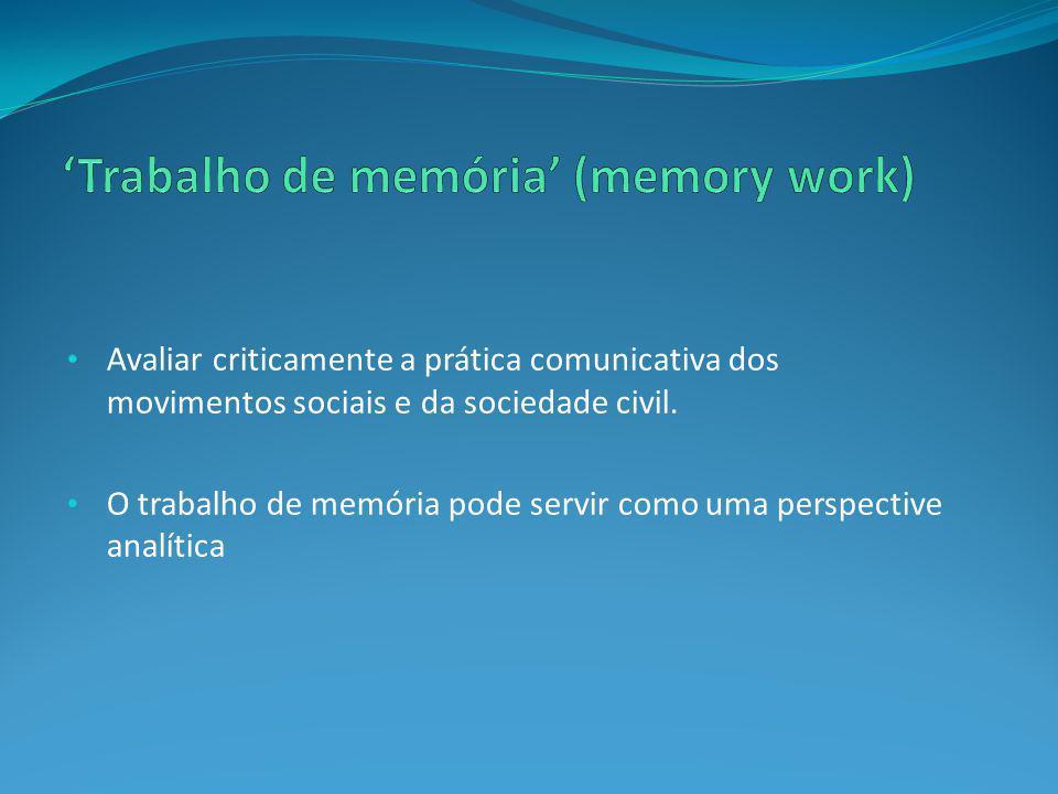 'Trabalho de memória' (memory work)