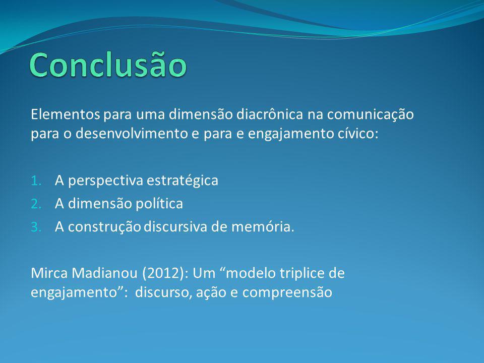 Conclusão Elementos para uma dimensão diacrônica na comunicação para o desenvolvimento e para e engajamento cívico: