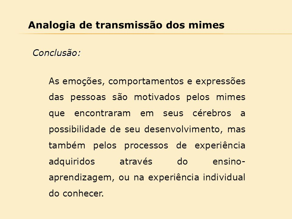 Analogia de transmissão dos mimes