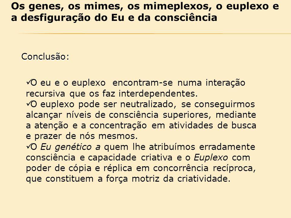 Os genes, os mimes, os mimeplexos, o euplexo e a desfiguração do Eu e da consciência
