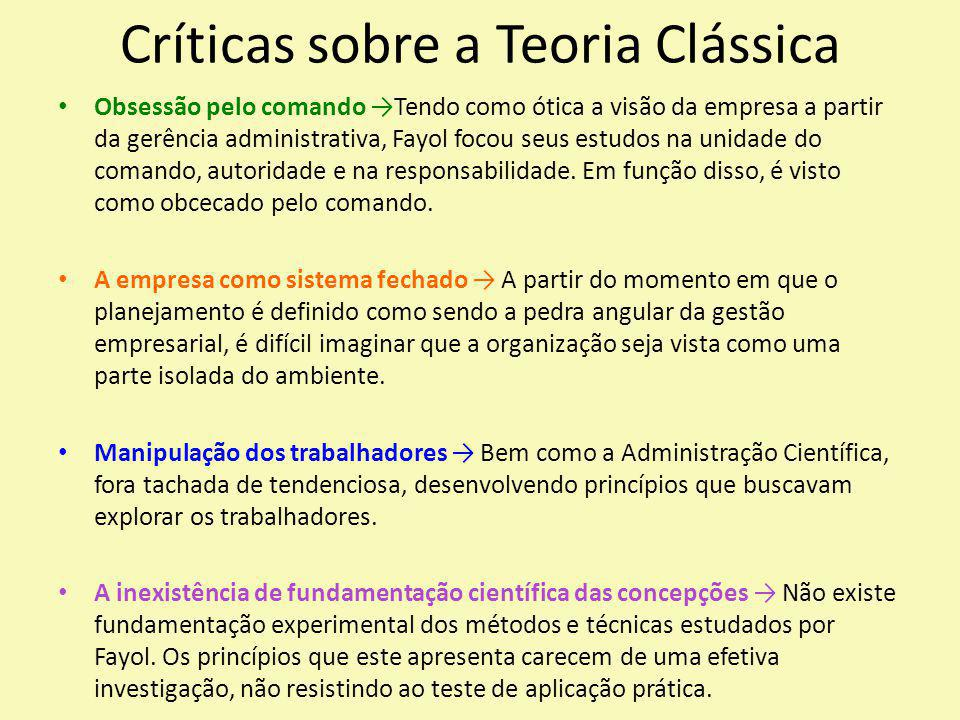 Críticas sobre a Teoria Clássica