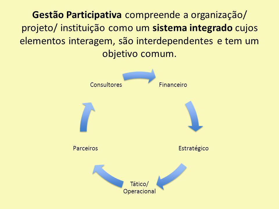 Gestão Participativa compreende a organização/ projeto/ instituição como um sistema integrado cujos elementos interagem, são interdependentes e tem um objetivo comum.