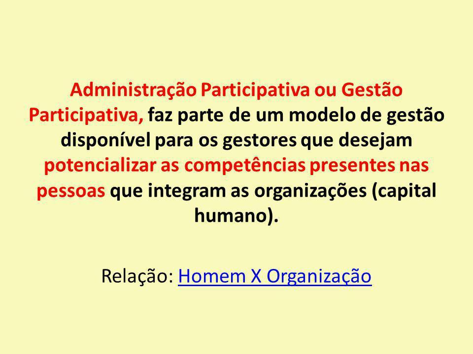Administração Participativa ou Gestão Participativa, faz parte de um modelo de gestão disponível para os gestores que desejam potencializar as competências presentes nas pessoas que integram as organizações (capital humano).