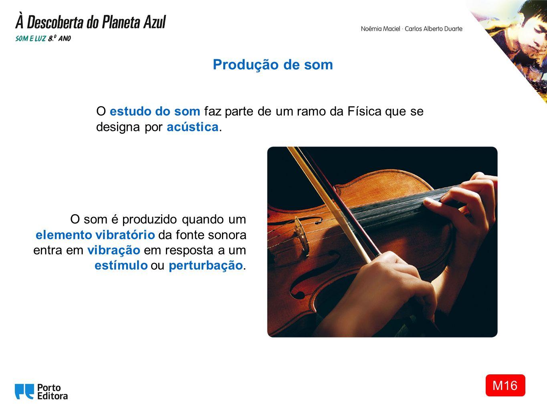 Produção de som O estudo do som faz parte de um ramo da Física que se designa por acústica.