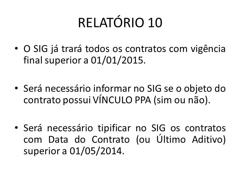 RELATÓRIO 10 O SIG já trará todos os contratos com vigência final superior a 01/01/2015.