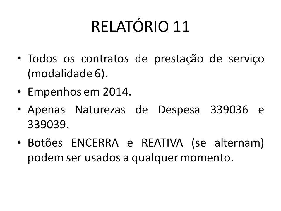 RELATÓRIO 11 Todos os contratos de prestação de serviço (modalidade 6). Empenhos em 2014. Apenas Naturezas de Despesa 339036 e 339039.
