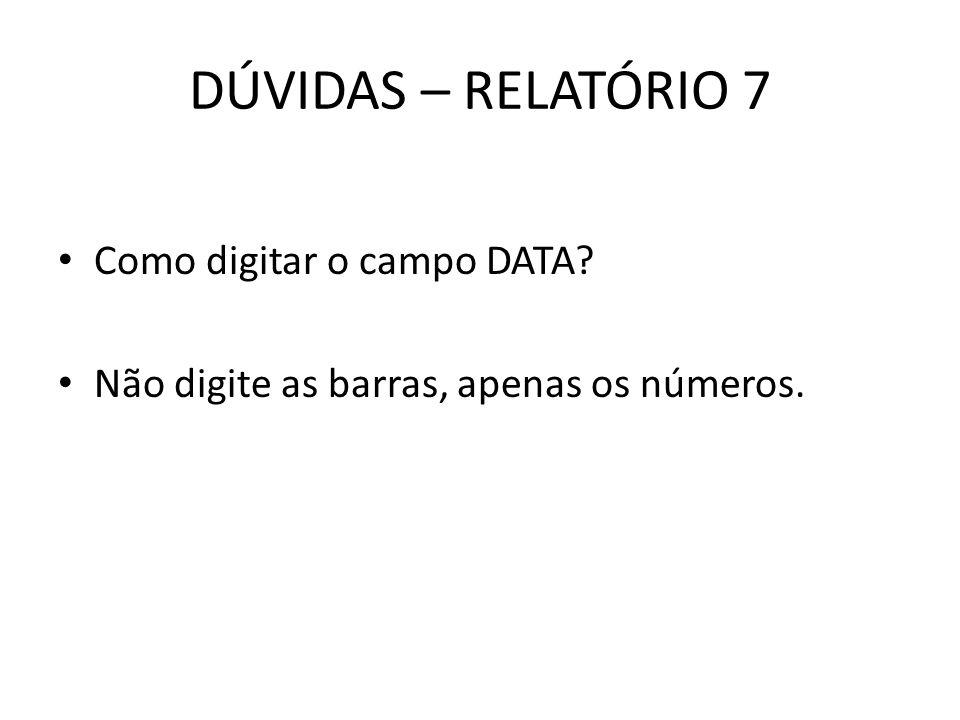 DÚVIDAS – RELATÓRIO 7 Como digitar o campo DATA