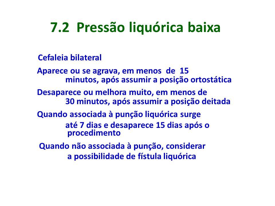 7.2 Pressão liquórica baixa