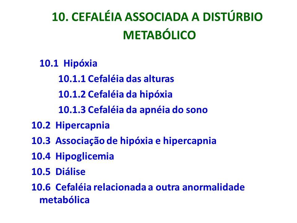 10. CEFALÉIA ASSOCIADA A DISTÚRBIO METABÓLICO