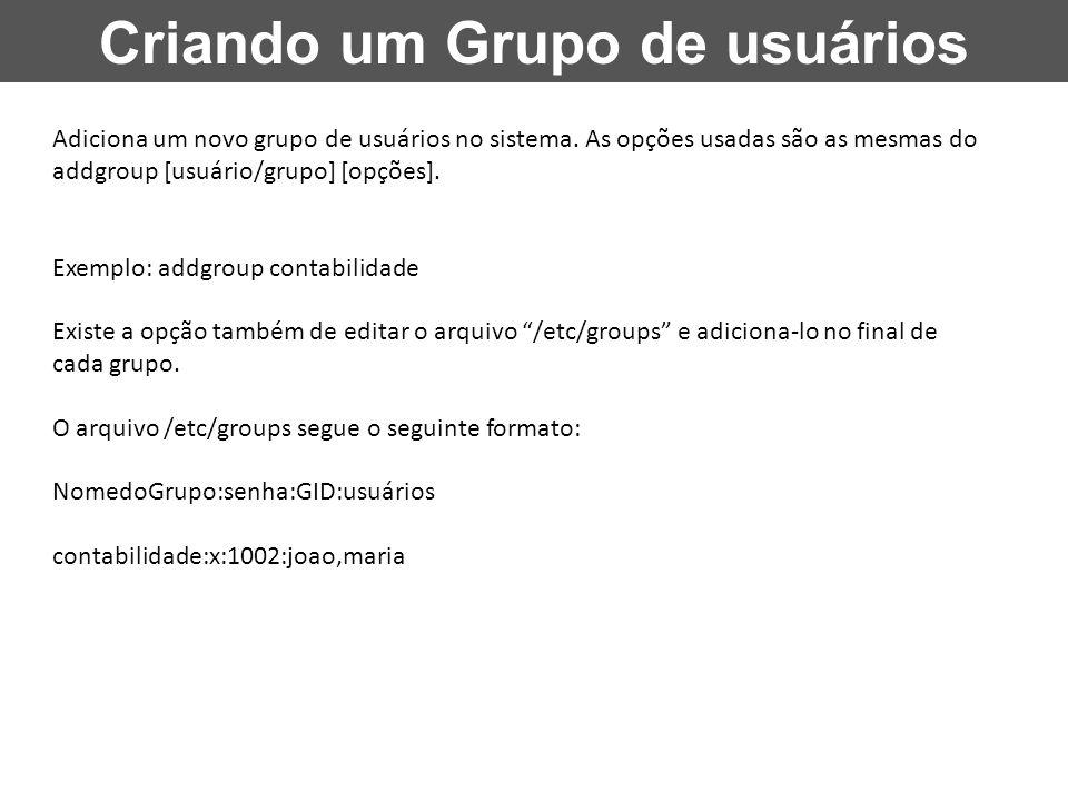 Criando um Grupo de usuários