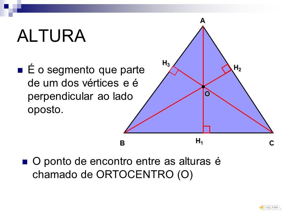 ALTURA A. H3. É o segmento que parte de um dos vértices e é perpendicular ao lado oposto. H2. O.