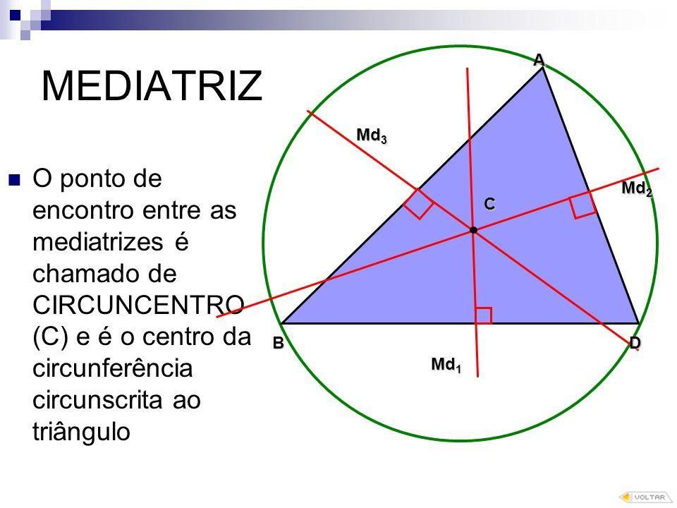 MEDIATRIZ A. Md3. O ponto de encontro entre as mediatrizes é chamado de CIRCUNCENTRO (C) e é o centro da circunferência circunscrita ao triângulo.