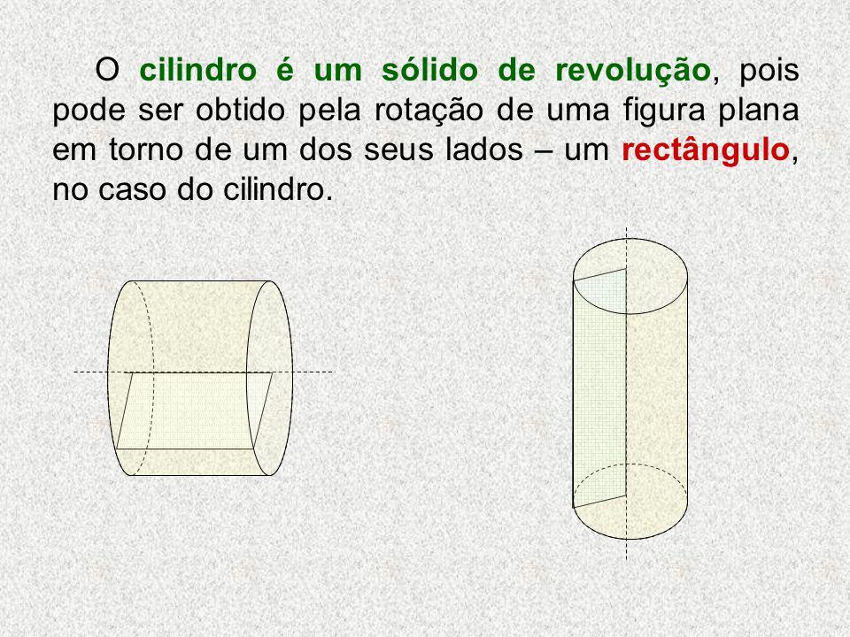O cilindro é um sólido de revolução, pois pode ser obtido pela rotação de uma figura plana em torno de um dos seus lados – um rectângulo, no caso do cilindro.