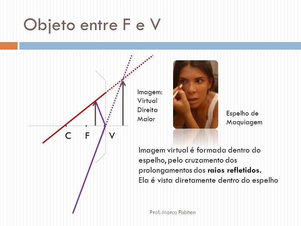 Objeto entre F e V Imagem: Virtual. Direita. Maior. Espelho de. Maquiagem. . C. . F. . V.