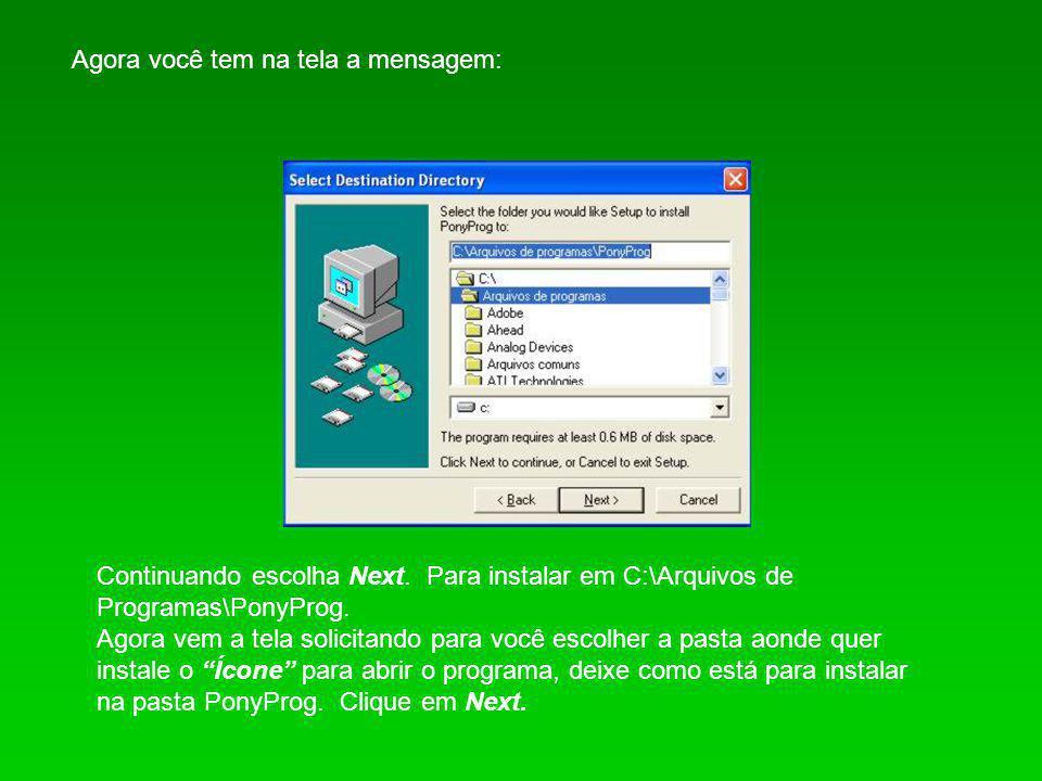 Agora você tem na tela a mensagem: