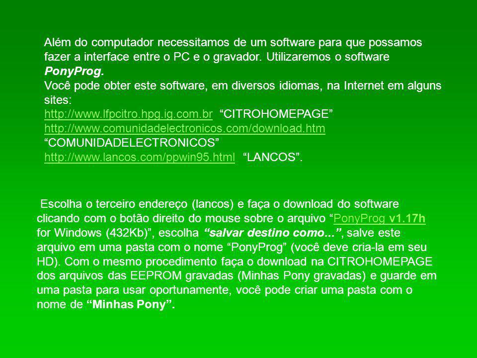 Além do computador necessitamos de um software para que possamos fazer a interface entre o PC e o gravador. Utilizaremos o software PonyProg.
