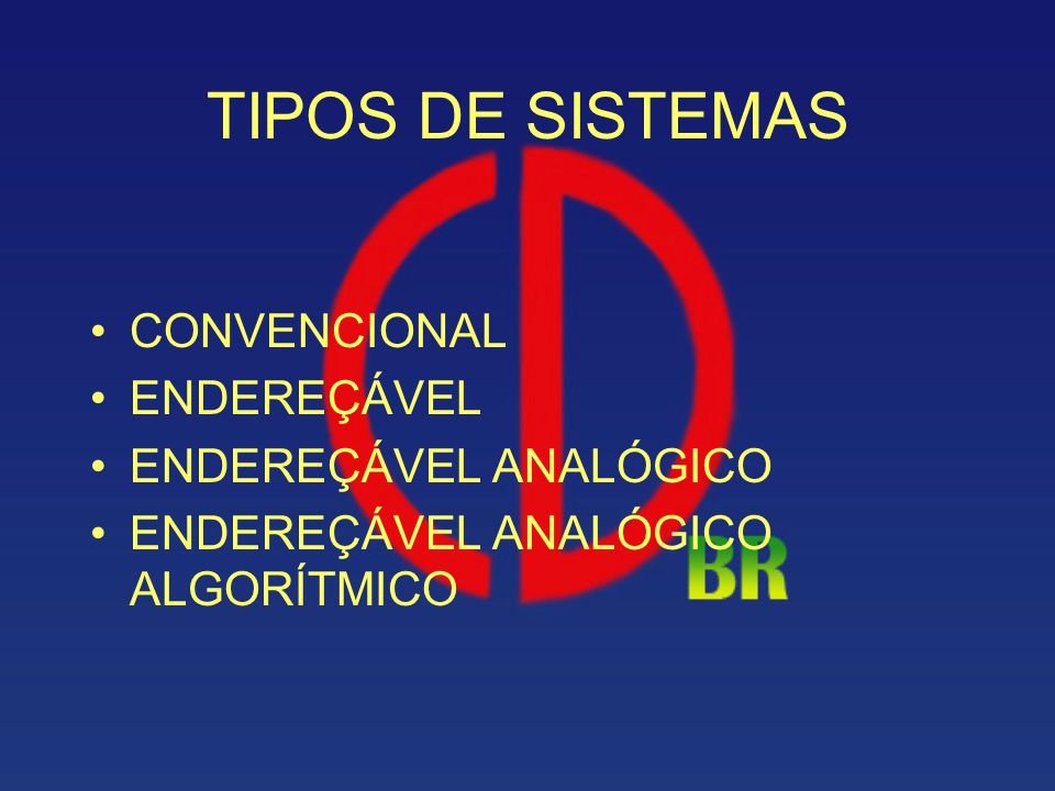 TIPOS DE SISTEMAS CONVENCIONAL ENDEREÇÁVEL ENDEREÇÁVEL ANALÓGICO