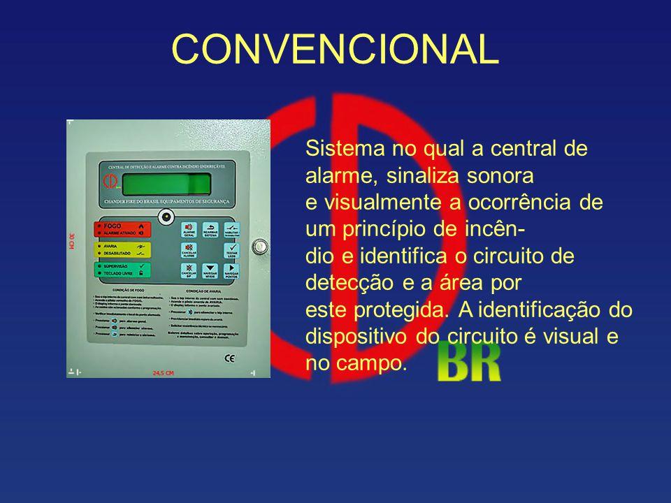 CONVENCIONAL Sistema no qual a central de alarme, sinaliza sonora