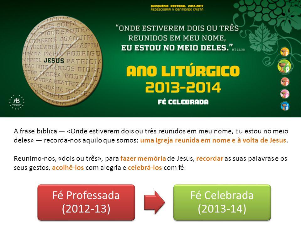 Fé Professada (2012-13) Fé Celebrada (2013-14)